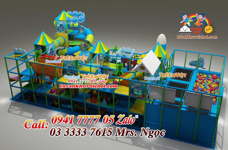 Nhà liên hoàn rất nhiều đồ chơi trò chơi trải đều trên các tầng.