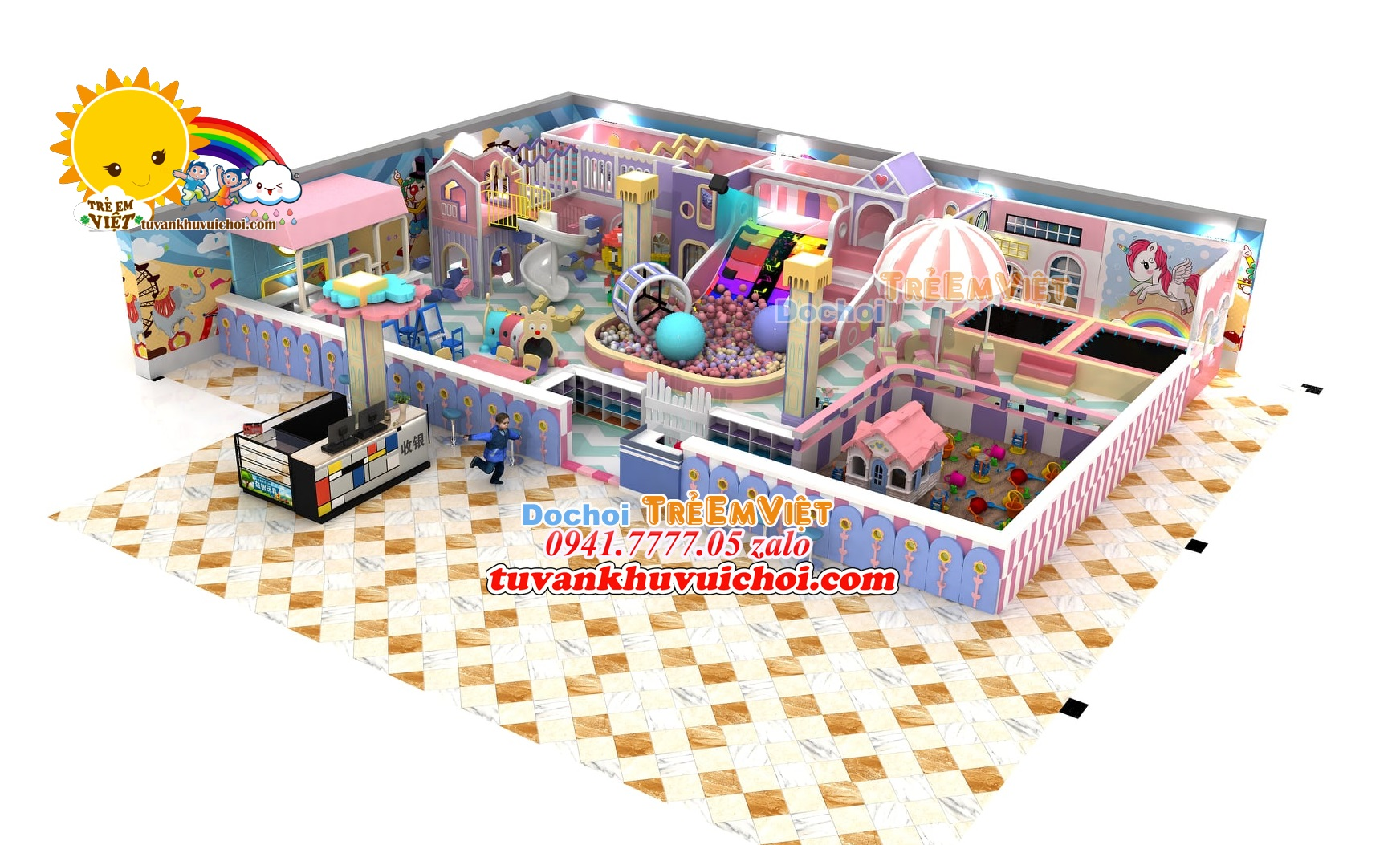 Mô hình nhà bóng liên hoàn 2 tầng kích thước: 9 x 15 x 3 m.