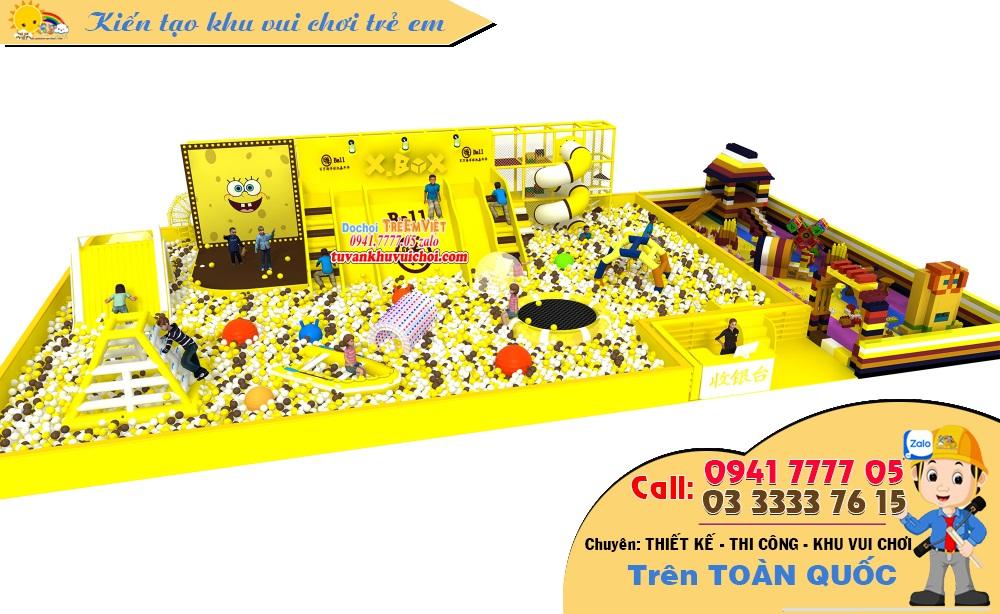 Nhà bóng liên hoàn dạng hở với hồ bóng rộng và nhiều đồ chơi bằng hơi.