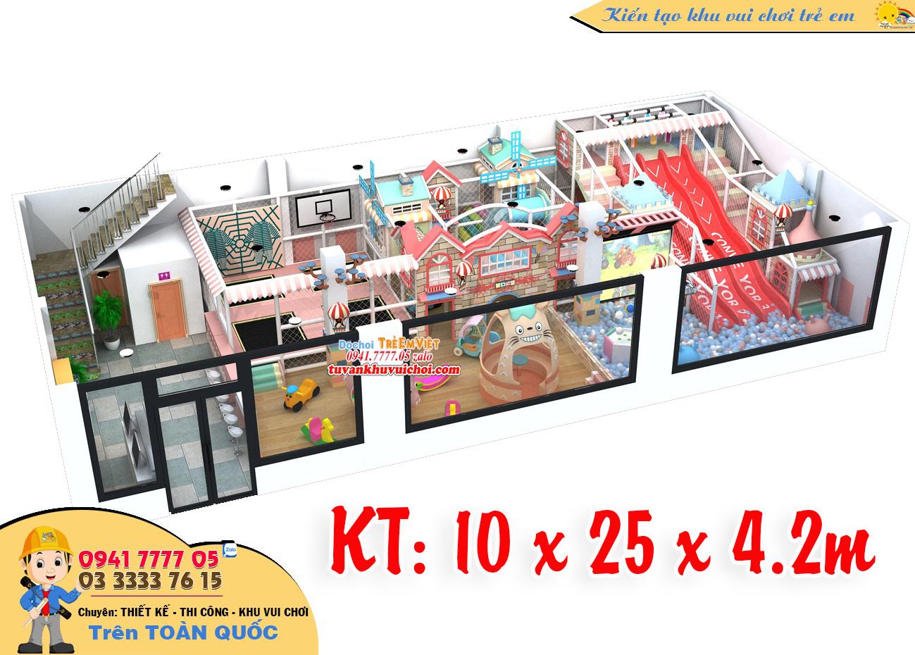 Mô hình nhà bóng liên hoàn 3 tầng kích thước: 10 x 25 x 4.8 m.