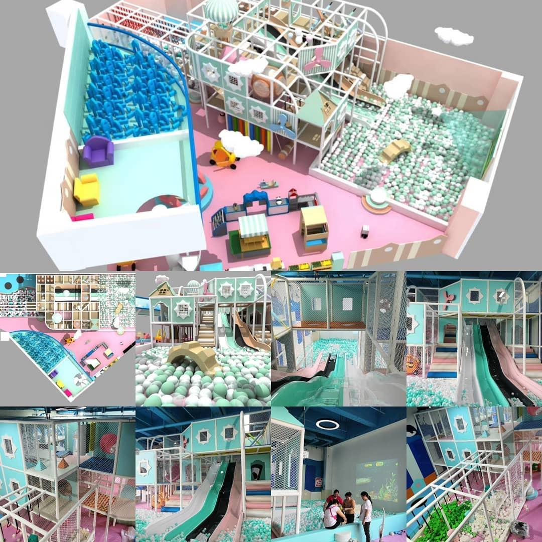 Chi tiết giữa bản thiết kế 3D khu vui chơi và kèm hình ảnh thực tế.