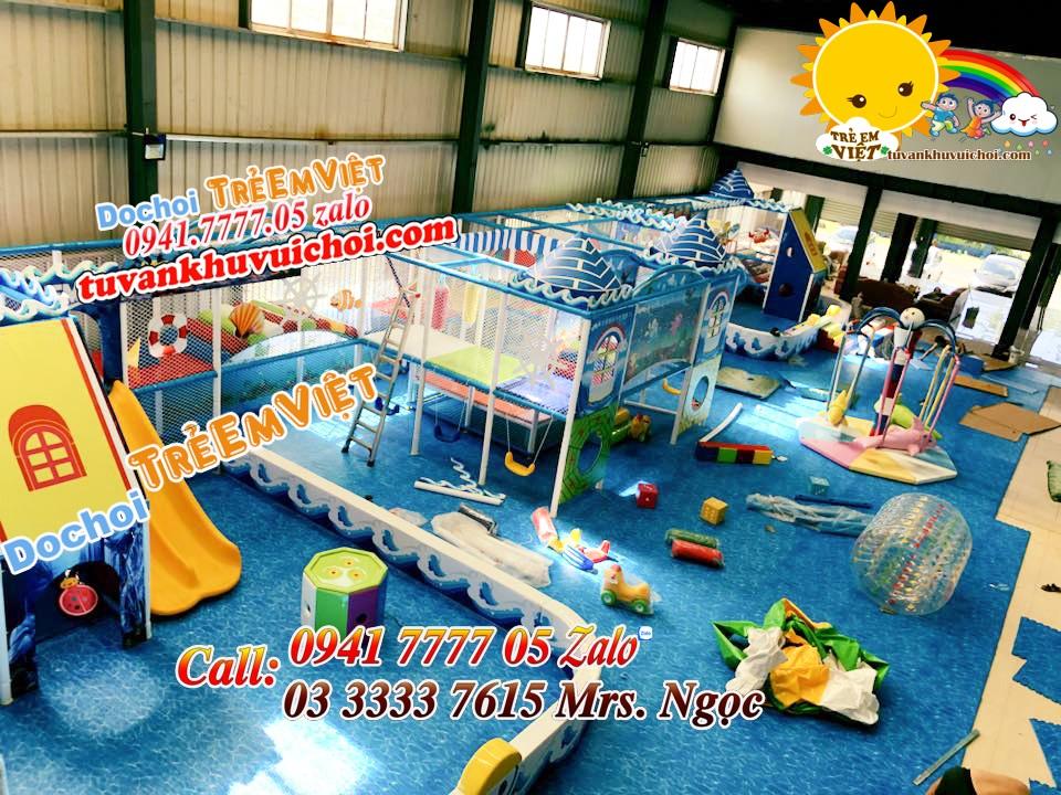 Công trình thi công khu vui chơi trẻ em load được 80%.