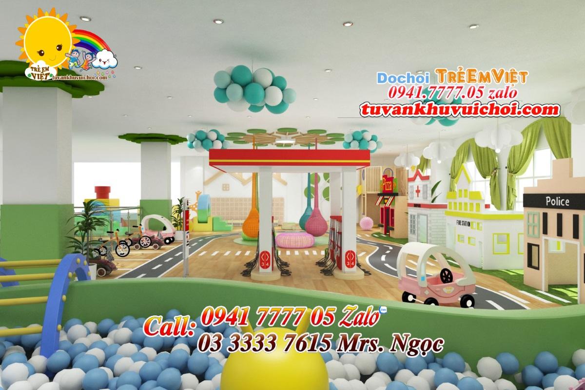 Ảnh thiết kế 3D không gian vui chơi giao thông cho bé và khu hướng nghiệp