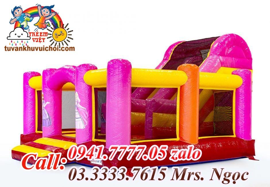 Nhà hơi mini màu hồng dành cho khu vui chơi tone Kẹo
