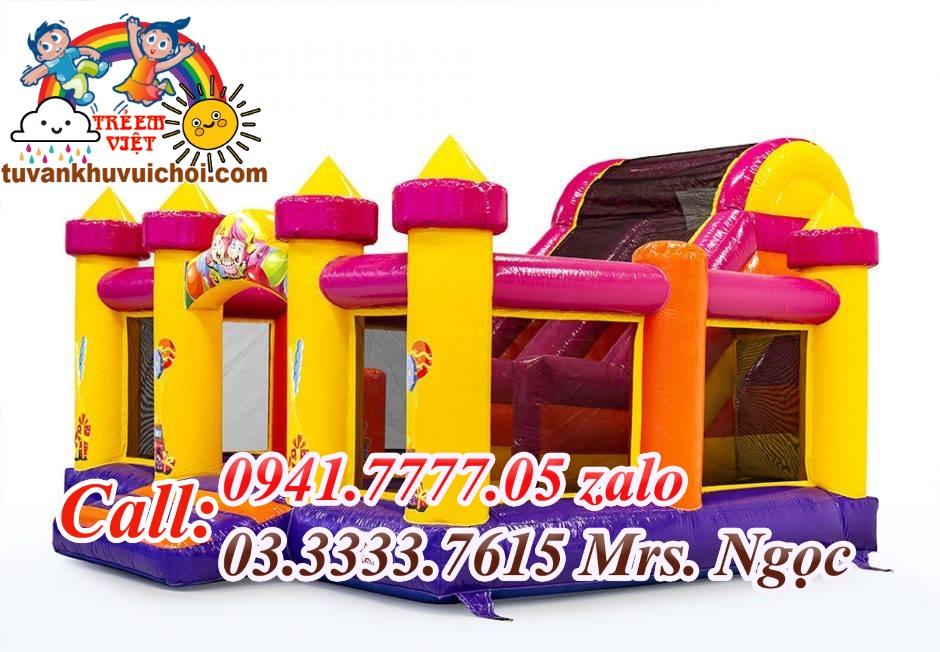 Nhà hơi mini lâu đài cho khu vui chơi trẻ em.