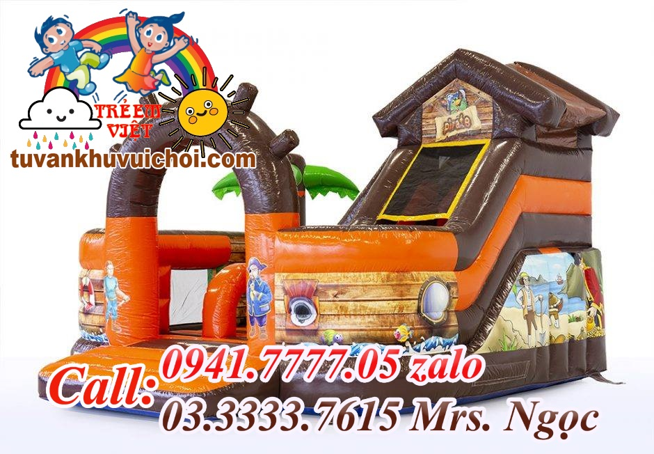 Nhà hơi mini Con thuyền Cướp biển vùng Caribbean, thích hợp cho những khu vui chơi trang trí theo tone đại dương.